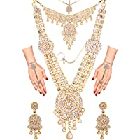 Efulgenz 印度宝莱坞新娘婚礼 Kundan 水晶项链耳环 Maang Tikka 头链 鼻环 手镯 首饰套装