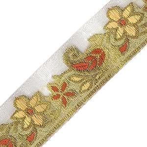 Venus Ribbon 15/16 英寸金属花提花,金色/玉米色/浅棕色,5 码