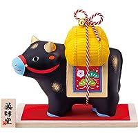 药师窑 2021年 干支 日本制造 锦彩 招福 牛(福结・黑)