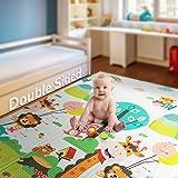 可折叠游戏垫  【易于清洗折叠】不含 BPA *泡沫婴儿游戏垫 79 英寸 x 70 英寸 0.6 英寸厚 超大双面爬行垫 便携幼儿 孩子 Cute Giraff