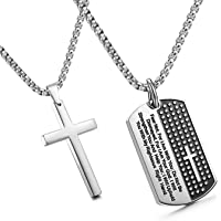 JewelrieShop 不锈钢狗牌十字架项链 男式上帝祈祷吊坠 - 2.54cm 吊坠 60.96cm~71.12cm…