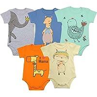 FLORNO 中性款婴儿紧身衣裤,婴儿短袖连体衣,连体衣,**棉短袖连体衣,5件装