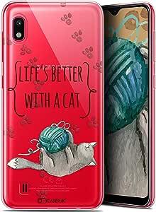三星 Galaxy A10 (6.2) 手机保护套手机壳凝胶高清系列引言设计生活更好与猫 - 柔韧 - 超薄 - 法国印刷]CRYSPRNTQUOTEA10CAT  Samsung Galaxy A10 Samsung Galaxy A10 Life is Better With a Cat