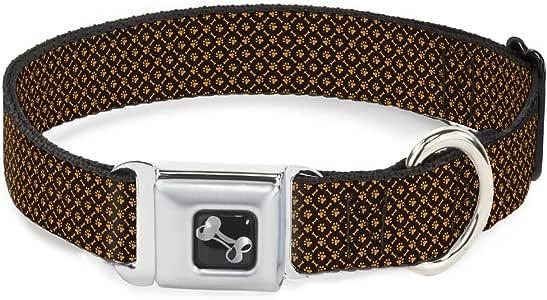 Buckle Down 16-23 英寸骨头和爪子交织字母棕色/橙色狗项圈,宽中号