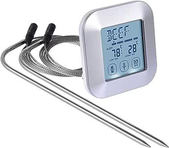 BBQ 烹饪温度计,3 个防水不锈钢温度探针*不会破裂,银色。 适用于烤箱、烧烤、烧烤或*熏炉。 内置计时器,带闹钟