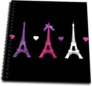 3dRose db_113151_2 Girly Eiffel Tower-Hot Pink Purple Black Paris Towers Love Hearts Stylish French Modern France-Memory Book, 12 by 12-Inch