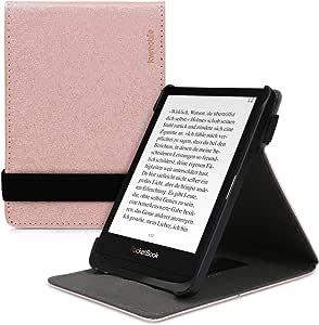 kwmobile 保护套适用于 Pocketbook Touch Lux 4/Basic Lux 2/Touch HD 3 - PU 皮革 e-Reader 保护套带内置手提带和支架 - 黑色47288.81_m000408 玫瑰金