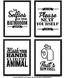 印刷浴室装裱墙艺术和图片 - 4 个装有趣的浴室引言和规则 - *棒的现代马桶装饰文字和字母 - 高级卡片纸质言海报,黑白印花 20.32 x 25.4 厘米 选项 1 8 x 10 Inch