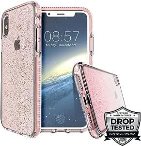 Prodigee [Superstar] Apple iPhone Xs Max 6.5 英寸2018 透明外壳透明 2 米*认证跌落冲击测试手机壳超薄保护闪耀眼 玫瑰红