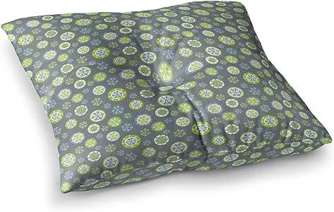 "KESS InHouse Julie Hamilton""雪花板""冬季方形地板枕 多种颜色 26"" x 26"" JH1019CSF02"