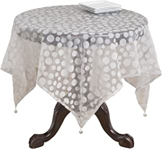 SARO LIFESTYLE 1893 Flocked Dots Square Table Topper, 54-Inch, Platinum