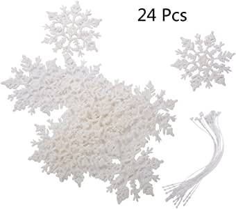 Saim 24 件套雪花圣诞装饰品冬季婚礼喜爱生日派对主题装饰 - 彩虹白色闪光 - 直径 10.16 厘米。 白色 LS1705180001