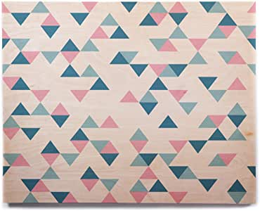"KESS InHouse Project M""Triangles Pink""腮红蓝桦木墙壁艺术品 8"" x 10"" PM1028BHW01"