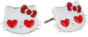 Hello Kitty Girls' Heart Sunglasses Crystal Bow Stud Earrings
