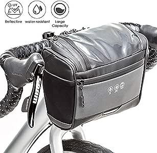 AUTOWT 自行车把手前袋,防水反光自行车手机支架篮包触摸屏适用于 iPhone 三星 7 英寸大容量 3.5 升存储袋适用于公路山地自行车骑行
