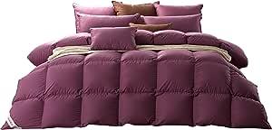 SNOWMAN King Szie 白色鹅绒羽绒被高级挡板盒特大床羽绒被芯 * 纯棉被套防* 紫色 Purple-Queen GDC0090-PURPLE-1