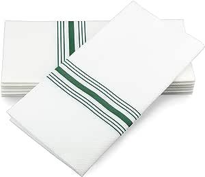Simulinen 餐巾 - 装饰餐巾 - 类似布和一次性布料 - 优雅耐用 - 柔软吸水 - 大号 43.18 厘米 x 43.18 厘米 - 包装方便存放 - 75 盒 Green Bistro With Pocket 17x17 9735075