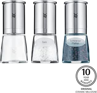 WMF 福腾宝 De Luxe 盐/胡椒研磨罐 3件套,Cromargan不锈钢,玻璃,陶瓷研磨罐,适用于盐/胡椒/辣椒