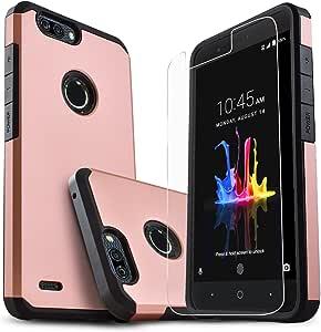 中兴刀片 Z Max、中兴 Zmax Pro 2、中兴 Sequoia 手机壳、Starshop [减震] 双层碰撞高级保护壳,带【含优质高清屏幕保护膜】(玫瑰金) 粉红色