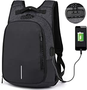 RIONA 笔记本电脑背包 14.1 英寸 Daypack 带编码的防盗带 USB 端口/防水尼龙公文包笔记本电脑包平板电脑适用于学院/旅行/商务/体育RIBP1768Black Fits up to 14.1'' laptop with lock