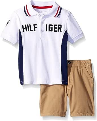Tommy Hilfiger Little Boys' 2 Piece Logo Polo Shirt with Short Set 白色 5