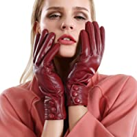 冬季触摸屏纹理皮革手套女式羊绒衬里手套