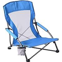 低吊带沙滩椅成人躺椅露营折叠椅网眼高背超轻便携户外椅花园草坪野餐音乐会