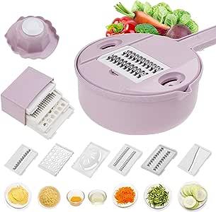 12 合 1 蔬菜切片机 土豆削皮器 胡萝卜 洋葱刨碎机 带过滤 蔬菜切割器 厨房用具配件 用于烹饪准备 粉红色