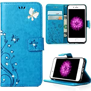 [Secret Garden] Miniko(TM) 美丽奢华蝴蝶花卉钻石闪亮镀层缓冲软弹性 TPU 透明手机壳适用于 Apple iPhone 7 - 施华洛世奇(金色/粉色) Wallet Blue iPhone 7 1