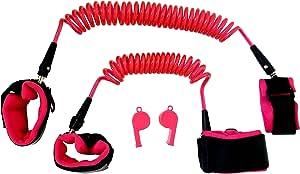 幼儿*带步行牵引绳 - 儿童防丢失腕扣 - 儿童*胸背带 - 2 只装(4.9 英尺和 8.2 英尺)- 适用于幼儿、婴儿和儿童的*手腕链 - 2 个额外哨子 粉红色
