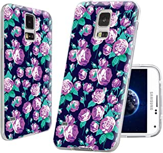 S5手机壳, SAMSUNG S5手机壳, Galaxy S5保护套, chichic 全防护保护套超薄耐用软 TPU 手机壳适用于三星 Galaxy S5I9600,几何 silvery 曼陀罗花卉图案 ON 靛蓝蓝色背景 violet roses