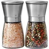盐和胡椒研磨器套装 - 专业厨师的盐和胡椒调味瓶 - Best Spice Mill 带拉丝不锈钢、特殊马克、陶瓷刀片和…