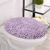 LuxUrux 浴室垫-超柔软毛绒浴室浴室地毯,2.54 厘米雪尼尔超细纤维材料,超吸水性绒浴地毯。 机洗烘干 紫色(L…