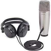 Samson 森 C01U Pro - USB 工作室电容式麦克风,带耳机输出,用于零延迟监控 - 银色