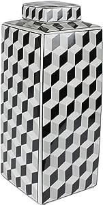 Sagebrook 家居装饰陶瓷盖罐,黑色/白色 黑色 6.5x6.5x16 12458-01