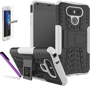 LG G6 手机壳,LG G6 Plus 手机壳配件 - ISADENSER 混合坚韧坚固的双层防护手机壳带支架适用于 LG G6/G6 Plus 2017 A Hyun White