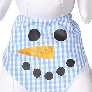 Tail Trends 圣诞狗手帕(圣诞老人、雪人、鲁道夫)设计师贴花 * 纯棉 Snowman Face 大