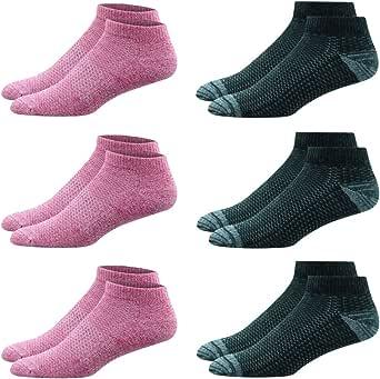 Columbia 女式中 cut & 短袜6双装–尺码4–10 粉红色/黑色 4-10