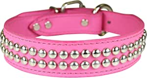 """OmniPet Dome Studded Signature Leather Dog Collar, Pink, 1.25"""" x 19"""""""