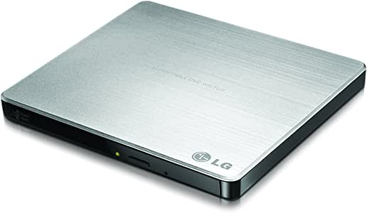 LG 电子 8X USB 2.0 多用、超轻薄便携 DVD 刻录机外置硬盘,支持 PC 和 Mac M-DISC,银色(gp60ns50)