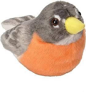 Wild Republic 奥杜邦鸟类美国罗宾毛绒仿真鸟 带真实声音,填充动物模型,儿童鸟玩具,美国罗宾