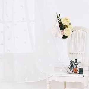 Deconovo 连杆套杆星刺绣图案设计亚麻外观薄纱窗帘布 2 件套 白色 52W x 95L Inch CT2090D-3