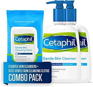 Cetaphil 丝塔芙温和洁面乳473ml*2+ 10片多效洁肤棉 温和清洁干燥敏感