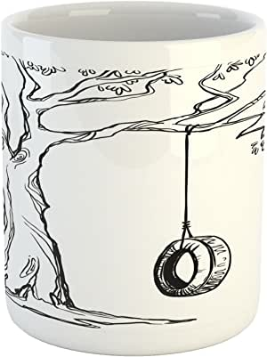 "Ambesonne Tree 马克杯,轮胎摇摆插图快乐夏日假日花园,印花陶瓷咖啡杯水茶饮料杯,黑白色 Multi 1 3.6"" H By 3.2"" W mug_17093"