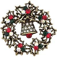 Q&Locket 圣诞节企鹅铃铃铛圣诞老人雪花环形花环胸针女式女孩