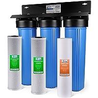 iSpring WGB32BM 3 级全屋净水系统带 50.8 厘米大蓝色沉淀物,碳块,铁和芒加减少过滤器 Sediment & Double Fine Carbon WGB32B