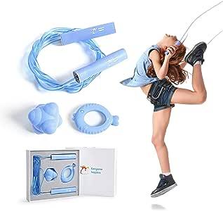Kangaroo Hoppers 儿童跳绳套装,健身器材梳子包含可调节跳绳、反应球和抓握力训练,提高平衡、敏捷性、协调性和强度