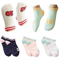 Kidstree 时尚可爱女童袜夏季棉质薄款儿童船袜 5 双