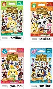 任天堂动物交叉卡卡系列 1、2、3、4 适用于 Nintendo Wii U 和 3DS,1 包(6 张卡片/包)(套装)(套装)共 24 张卡片