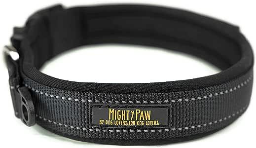 Mighty Paw 氯丁橡胶衬垫狗项圈,反光跑步狗项圈,优质运动项圈,运动项圈,超舒适,适合活性狗狗 黑色反光缝合 Black- Large